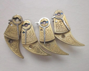 Vintage Balance Cocks, Four Matching Pieces, Brass with Floral Etching, 21mm x 11mm