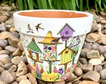 Plant pot, pots, terracotta, teacher gifts, birds, garden, gardening, plants, gardens, bird, bird houses, gift, home decor