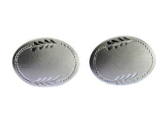 Vintage Sterling Silver Cuff Links, Large Silver Cuff Links, Etched Silver Cuff Links, Brushed Silver Cuff Links
