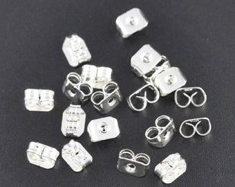 Set of 10 caps SLIPPERS earrings silver 5x4mm