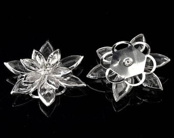 Connector or Applique Lily Crystal silver plated, rhinestone and PVC