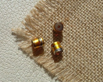 Set of 10 beads in glass TUBES 7X8mm COSMIC Brown threads gold and silver