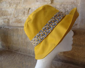 Hat woman yellow mustard cotton Cape