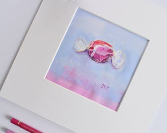 Bliss. Small Acrylic Painting. Original. Candy. Food Art. Blue. Pink. Modern Art. Contemporary Acrylic Painting. Canvas Wall Art.