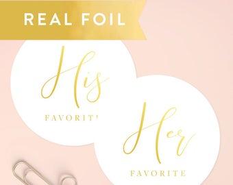 His/Her Favorite Stickers, Wedding Favor Stickers, Wedding Favors, Shower Favors, Treat Bag Stickers, Wedding Favor Labels, SET OF 20