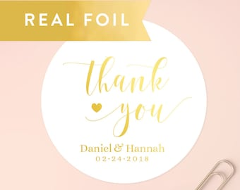 Gold Thank You Stickers, Wedding Favor Stickers, Favor Thank You, Thank You Labels, Wedding Stickers, Wedding Favor Stickers, SET OF 20