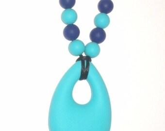 Turquoise Teardrop nursing Babywearing necklace - silicone teething necklace