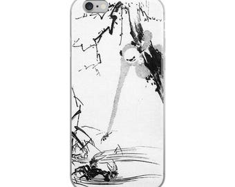 Japanese iPhone case, Asian woodblock print art, monkey and crab design