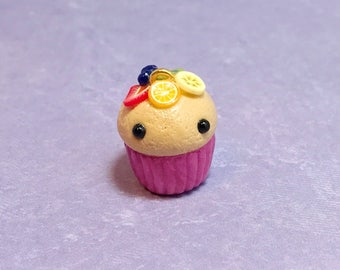 Fruit Tart Polymer Clay Cupcake Charm - planner, backpack, keychain