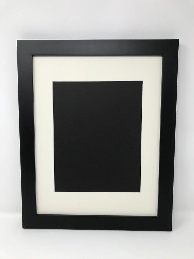 12x16 1 25 Black Solid Wood Picture Frame With Cream Mat