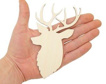 Deer Elk Head Wooden Cutout (15cm) Shapes Wood Craft Ornament Art Projects Craft Decoration Gift Decoupage