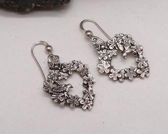 Beautiful Vintage Pewter Bird and Flower Heart Garland Earrings Silver hooks