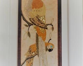 Vintage 60s, Mid Century Modern, Jeweled Parrot Birds, Pebble Art, Wall Hangings