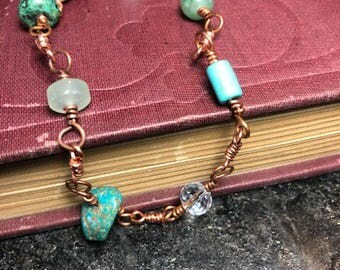 Multi stone copper bracelet