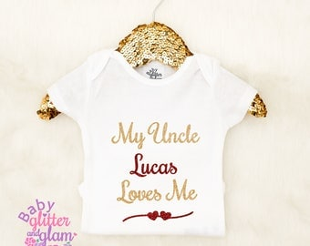 Baby girls bodysuits etsy my uncle loves me shirt my uncle is my favorite uncle baby gift negle Images