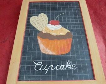 Slate deco orange cupcake hand painted