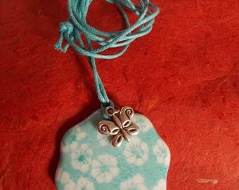 Pendant flower ' pattern small turquoise flowers '