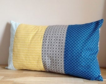 30 x 50, blue, gray and yellow Patchwork Cushion cover