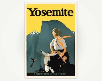 Yosemite Travel Poster Print - Southern Pacific Railroad Poster Art - Yosemite Valley - Vintage California Travel - National Parks Poster