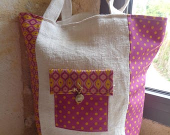 Tote bag in thick French linen ecru and purple cotton and mustard yellow