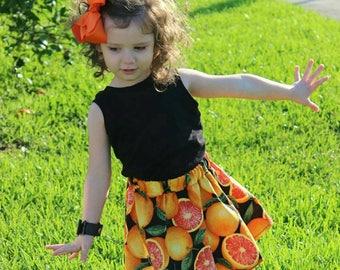 Grapefruit Circle Skirt/ Fruit/ Citrus Girls Skirt