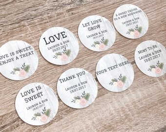 Personalised Labels Stickers for Wedding Favor. Gift. Bridal shower. Baby Shower. Party Favors