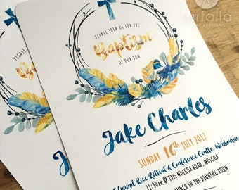 Blue Feather Wreath Invitation // 120 x 180mm // Change to any Occasion