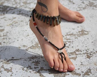 "Jewelry Crystal healing, sandal ""Grounding and Protection"""