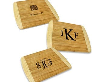 Engraved Monogram Large Cutting Board - Personalized Bamboo Cutting Board - Chopping Board Gift - Engraved Kitchen Utensils - Gift Idea