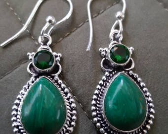 Emerald Green Jasper and Quartz Earrings!