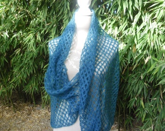 Mohair and silk shawl scarf blue
