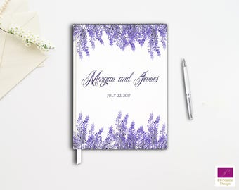Lavender Guestbook, Wedding Guest Book, Hardcover Custom Wedding Guest book, Elegant Wedding Guest Book, White and Lavender Guestbook