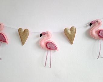 Flamingo & Hearts Felt Garland - Girls Bedroom - Nursery Bunting - Baby Shower