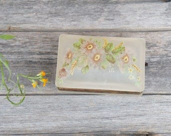 Vintage frosted White Glass Floral Trinket Box, Jewelry Box
