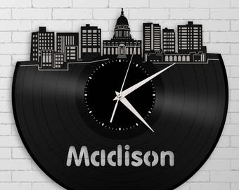 Madison Skyline Clock, Wisconsin Wall Art, Repurposed Vinyl Record, Decor Ideas For Home, Apartment, Loft, Office, Corporate Gift Ideas