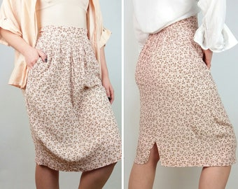 Vintage High Waist Pencil Skirt with Pockets in Blush Pink