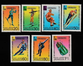 Winter Olympics-7 Postage Stamps-Mongolian Wintor Olympics Sports-Skiiing-Bobsled-Ice Skating-Skiiing-Scrapbookin Crafts Supplies-Stickers