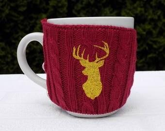 Christmas coffee sleeve, Christmas coffee sweater, Christmas mug sleeve, coffee cozy, coffee cup sweater,  stag head, Stocking Stuffer