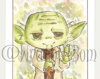 Star Wars Yoda Original Fan Art Sketchcard