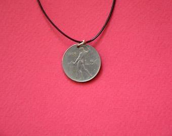 Italy L50 Lira 1956. Real Coin Pendant. REPVBLICA. ITALIANA  Сoin jewelry. Mens Necklace, Womens Necklace, Birth Year 1956
