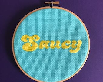 Saucy retro cross stitch kit - Easy cross stitch kit - beginners xstitch kit - funky craft kit - food lovers gift - 70's style - aqua gift