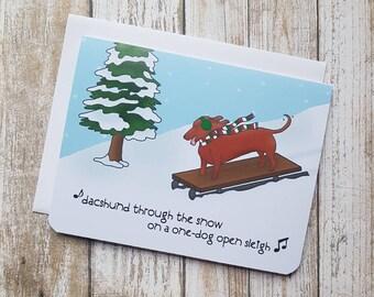 Funny Christmas Card, Dacshund Card, Dog Card, Dog Christmas Card, Pun, Dacshund