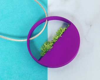 MINI WALLTER NECKLACE Wearable terrarium, Christmas gift, planter, botanic jewelry. Minimalist necklace. Miniature planter. Circular. Tiny