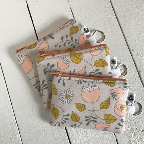 Change Purse | Tulips and Berries, Credit Card Holder,  Zipper Pouch, Cotton