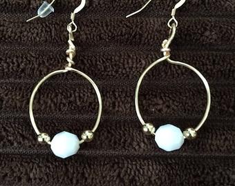 Hoop earrings, , White earrings, Gold filled earring set, Faceted white earrings