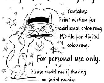 Magic Cat colouring page