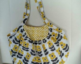 Gray, Tan and white graphic cotton tote bag