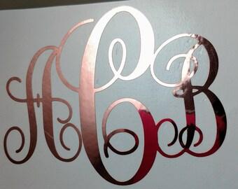 Beautiful Rose Gold CHROME Vine Monogram Vinyl  Decal I Yeti Decal I Ipad Decal  I Window Decal I Vinyl Sticker I Cute Sassy Preppy Shiny