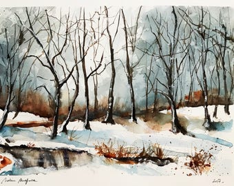 "Original watercolor painting-free shipping ""winter forest""(watercolor trees snow nature woodland paysage landscape winter)"