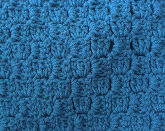 Corner-to-corner crochet, blue baby blanket